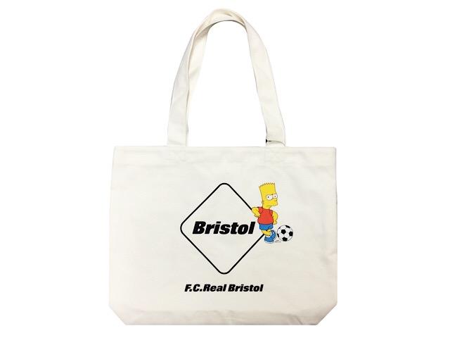 SOPHNET. ソフ F.C.Real Bristol エフシーレアルブリストル シンプソンズ コラボ 19SS 新品 トートバック THE SIMPSONS EMBLEM TOTE BAG エンブレム バート 白(生成り)