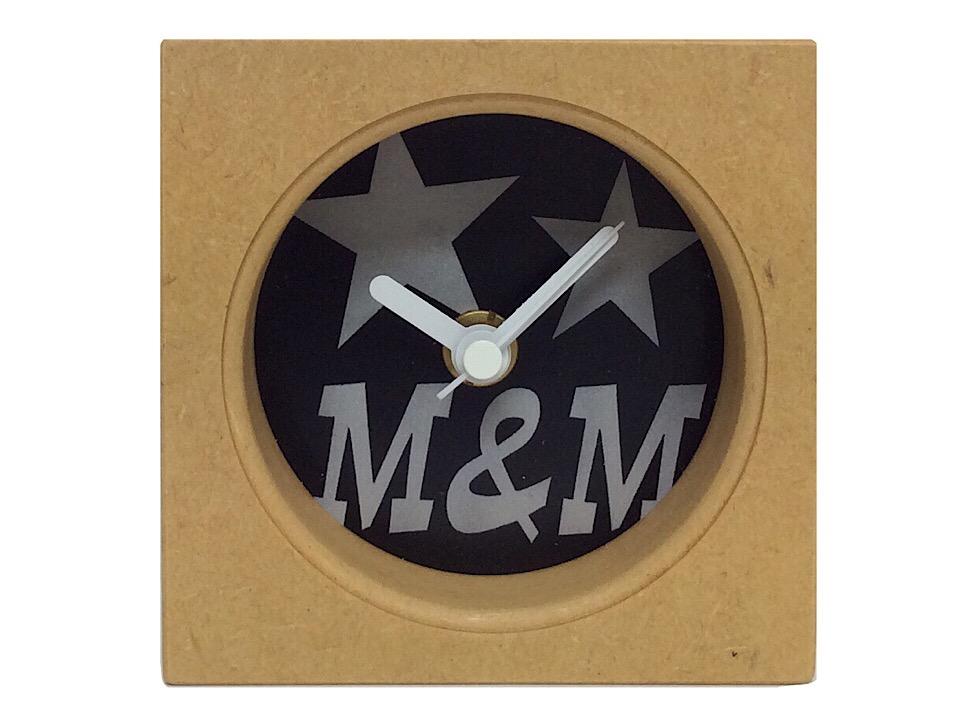 M&M エムアンドエム 新品 ウッド 置き時計 焼印木製 インテリア