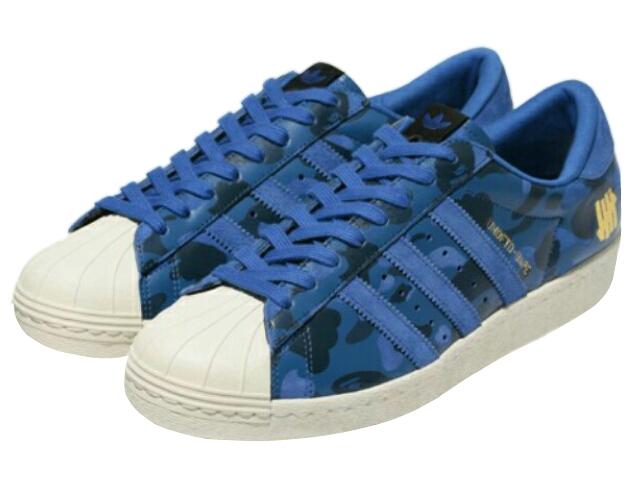 Adidas Superstar 80v X Undefeated X Bape Blue Camo S74775
