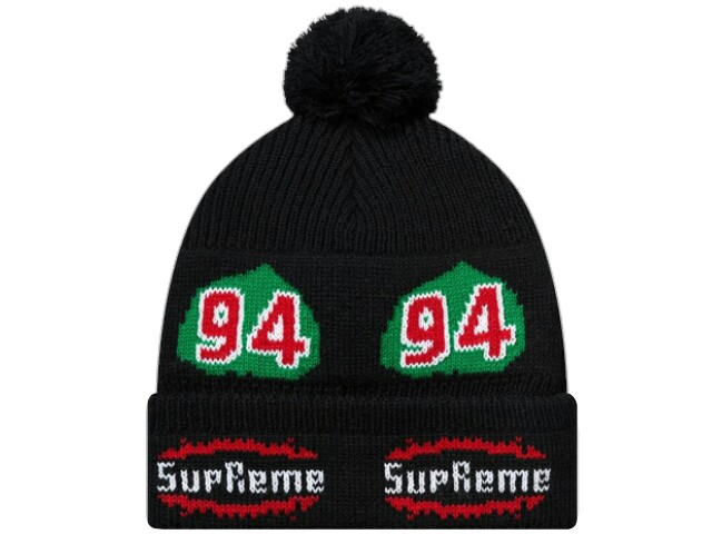 SUPREME シュプリーム ★2017AW新品 黒 Leaf Beanie  BLACK ニット帽 ロゴ ボンボン ビーニー 折り返し