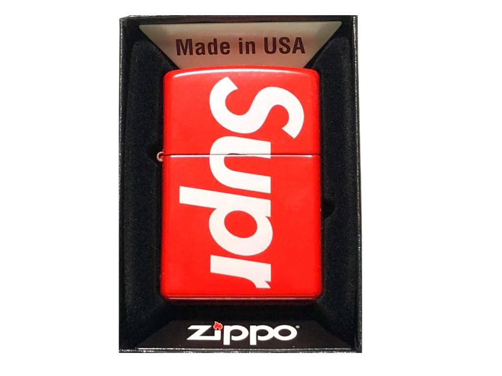 SUPREME シュプリーム ジッポライター ☆2018SS新品 赤 LOGO Zippo ロゴ RED