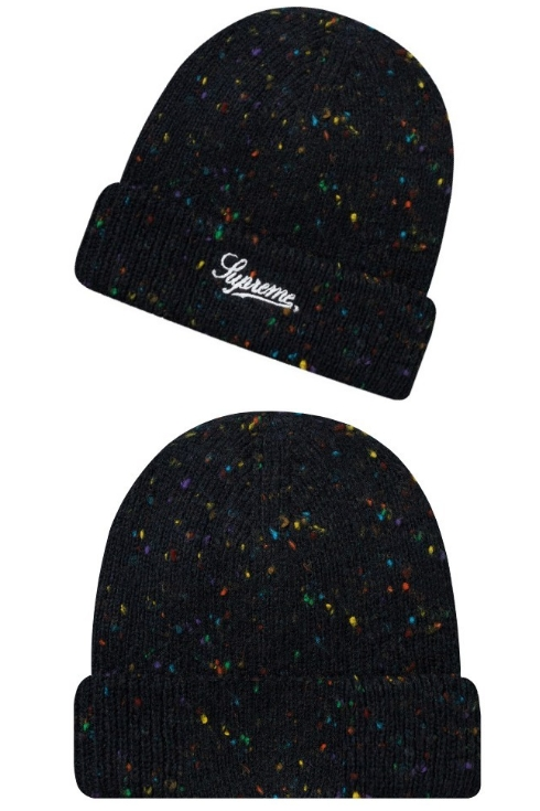 3fdfca0eeaab4 SUPREME シュプリーム ☆ 18AW new article black Colored Speckle Beanie knit hat  beanie lapel Black
