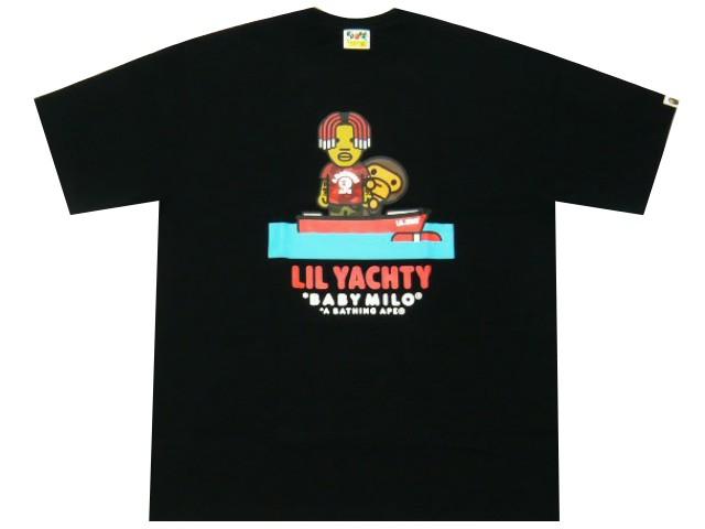 A BATHING APE BABY MILO × LIL YACHTY TEE ア ベイシング エイプ ベイビーマイロ リルヨッティ コラボ 19SS 新品 黒 半袖 プリント Tシャツ ヨット BLACK