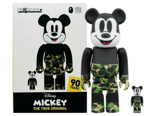 ミッキーマウス生誕90周年記念 A BATHING APE ア ベイシング エイプ MEDICOM TOY MICKEY 90TH × BAPE BE@RBRICK 100%400% 19AW 新品 ベアブリック100% 400% ディズニー ミッキーマウス カモ GREEN (2体セット) Disney 送料無料