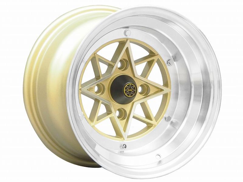 colin project STAR SHARK スターシャーク 復刻版ホイール 14x9.0J -26 114.3-4H ゴールド 2本セット【新品】44030