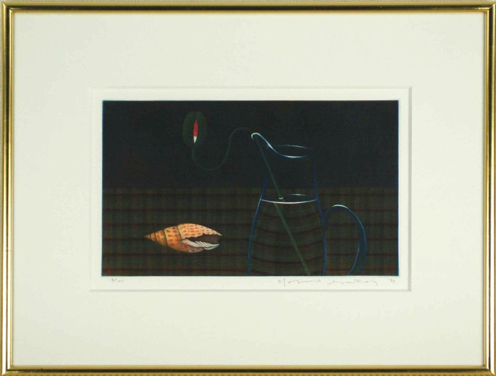 佐藤暢男 「ひなげしの蕾と巻貝」 銅版画