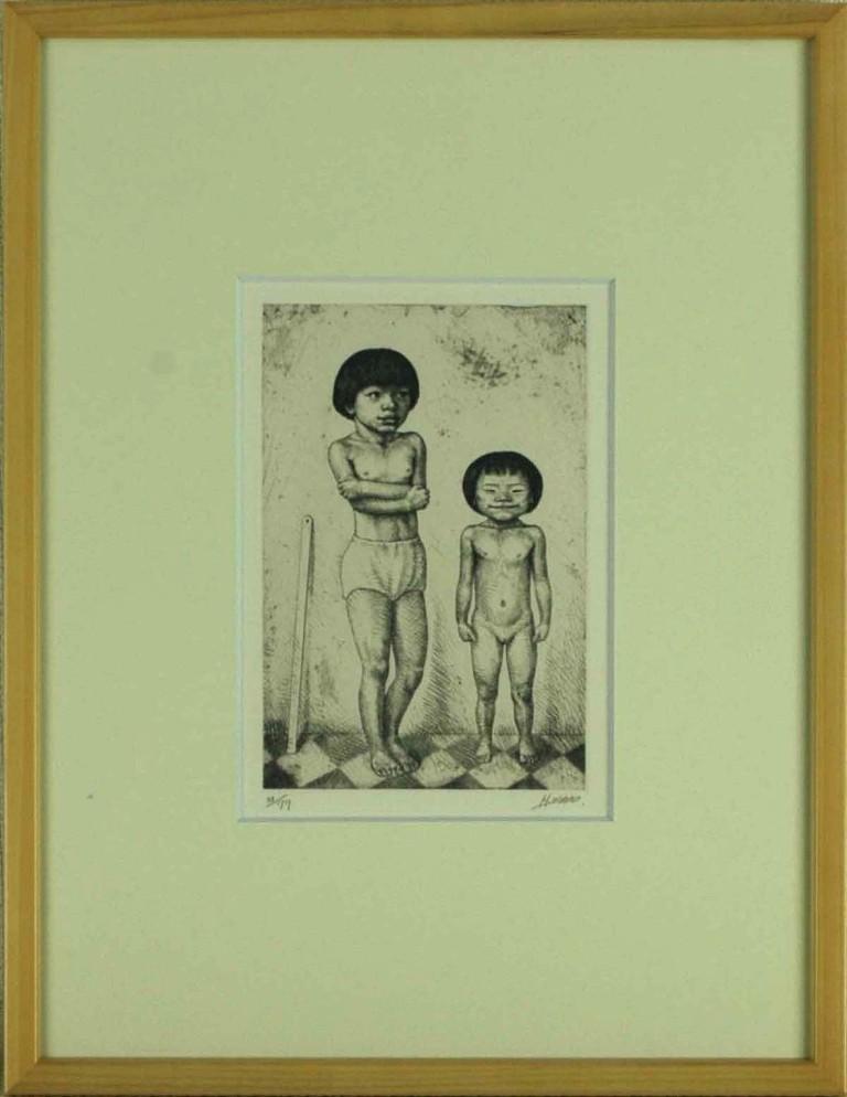 楽天市場】相笠昌義 「姉妹図」 銅版画:小野画廊