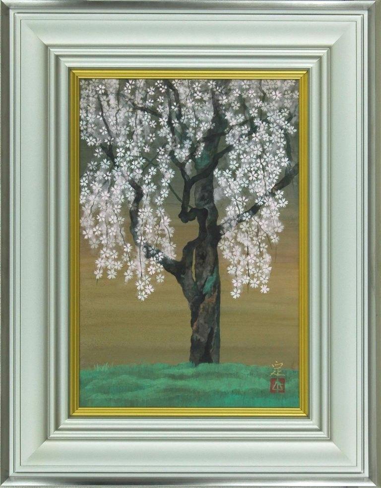 小野 定 「枝垂桜」 日本画6号