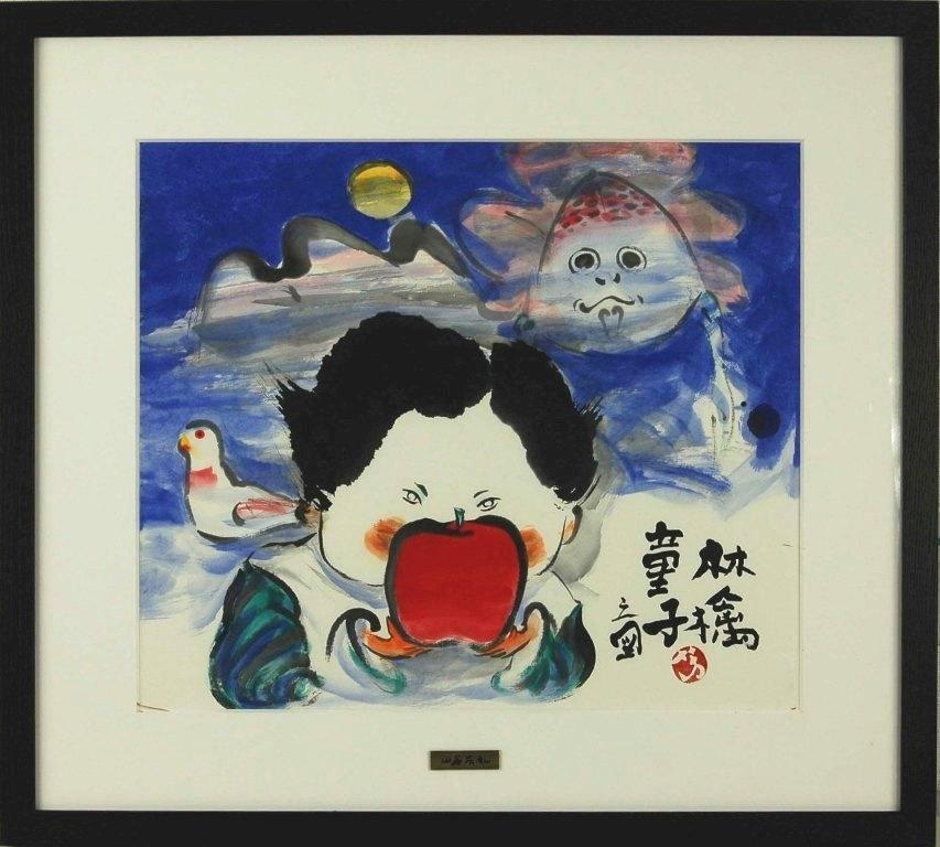 山谷芳弘 「林檎童子」 岩彩画10号大