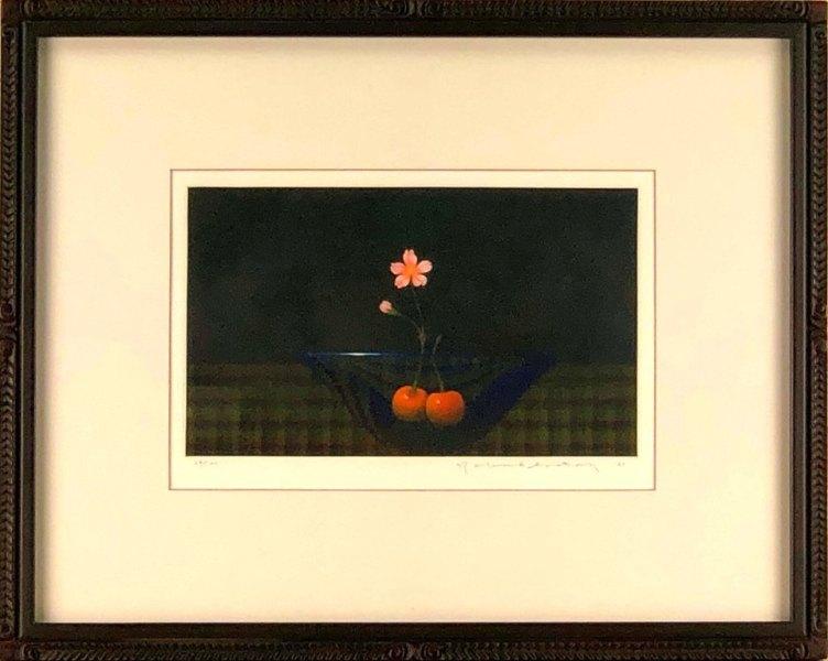 佐藤暢男 「青い硝子鉢」 銅版画