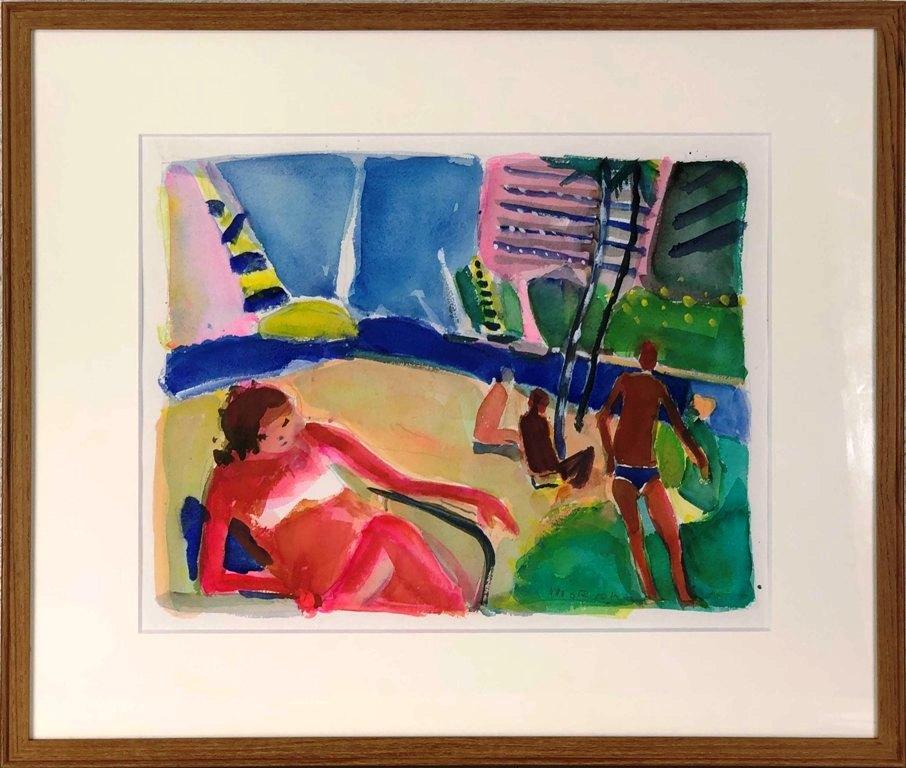 星 守雄 「海辺の人々」 水彩