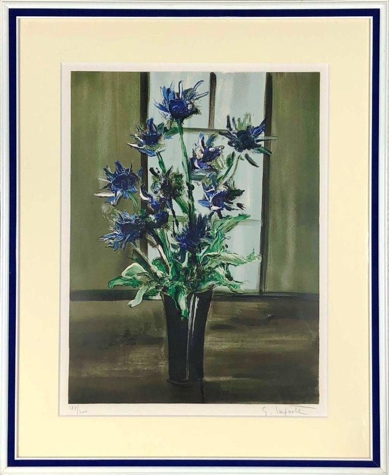 ジョルジュ・ラポルト 「窓辺の花」 リトグラフ
