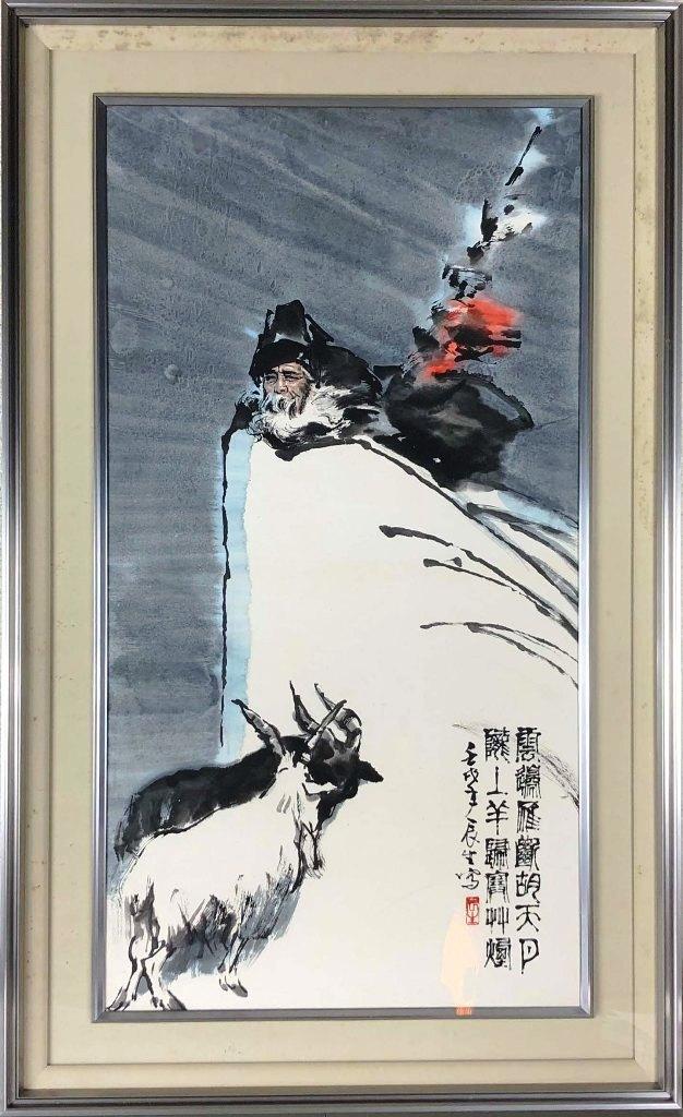 薫 辰生(トンチェンシェン) 「蘓武牧羊」 紙本顔彩