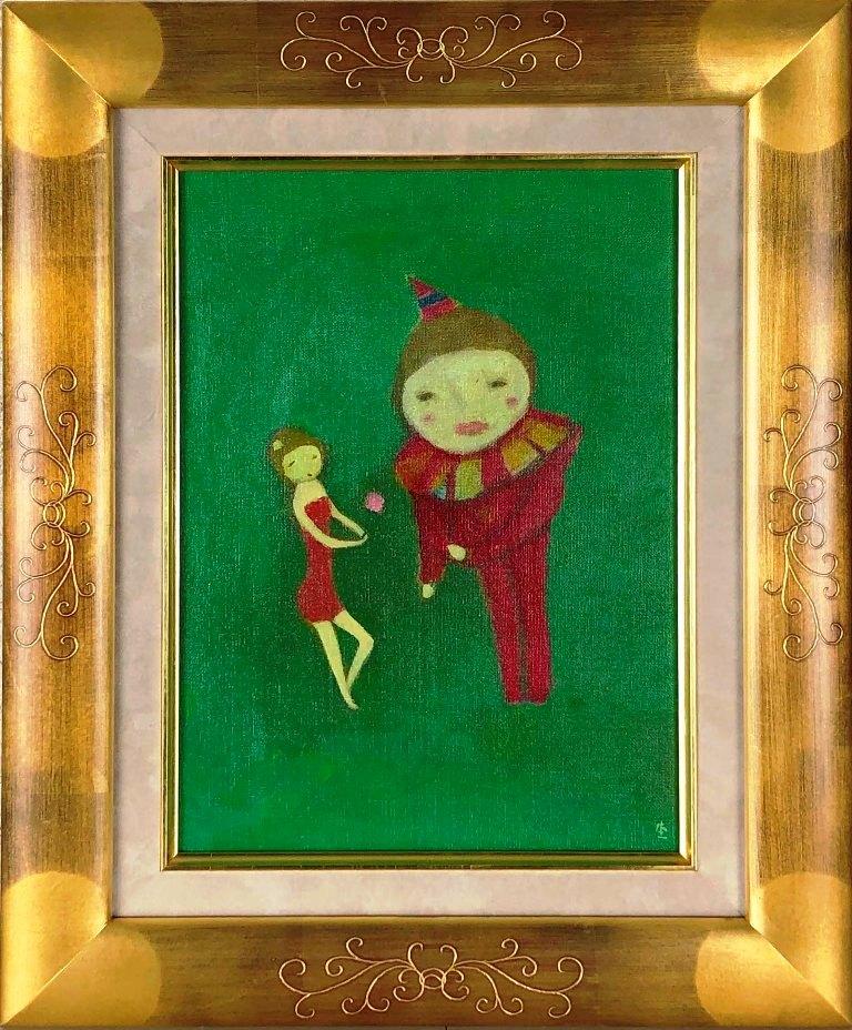杢田たけを 「ピエロと少女」 油彩4号