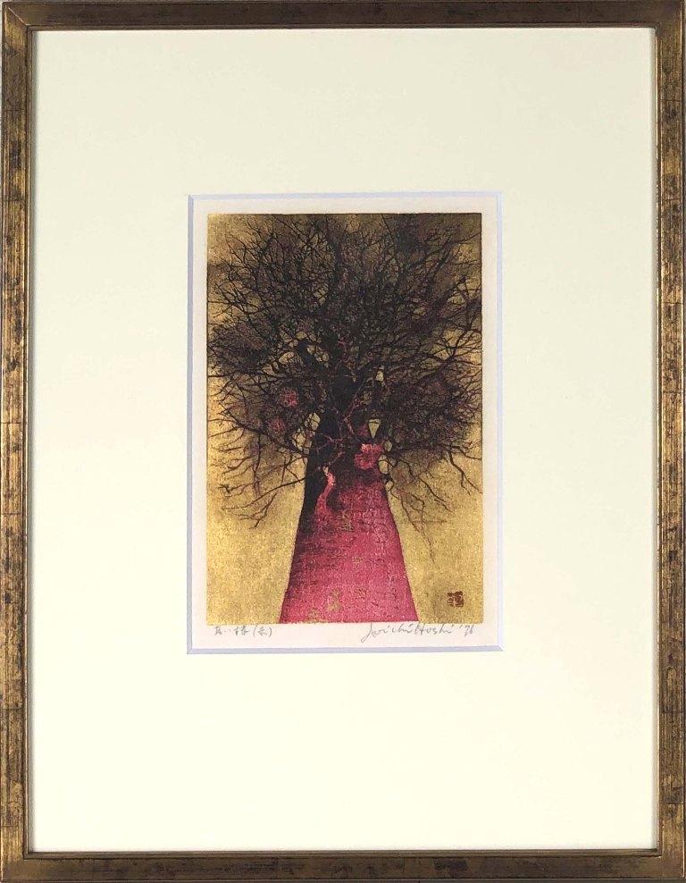 星 襄一 「高い梢(赤)」 木版
