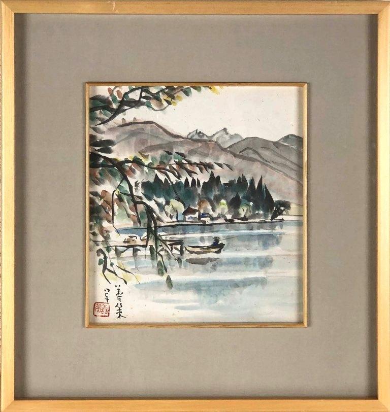 中村善策 「信州木崎湖」 水彩色紙