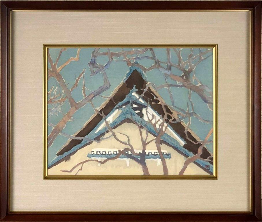 セールSALE%OFF 東山魁夷 柿の木の白壁の家 木版 特別セール品