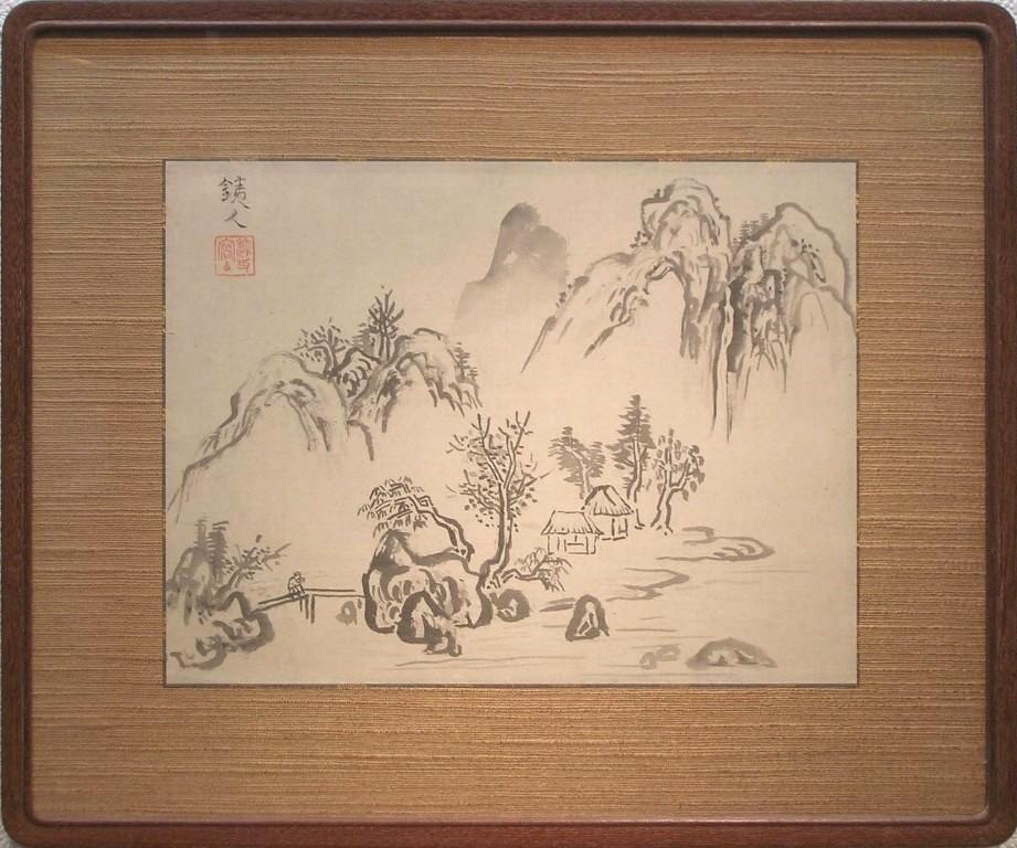 萬鐵五郎 「水墨山水」 水墨肉筆画