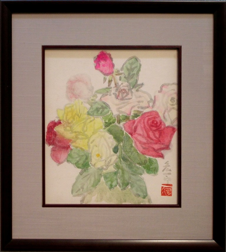 石橋宏一郎 「バラ」 水彩色紙