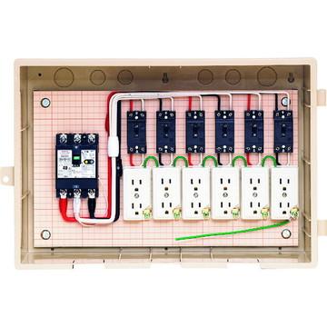 【法人限定】15-6C4 (156C4) 未来工業 屋外電力用仮設ボックス 漏電しゃ断器・分岐ブレーカ・コンセント内蔵