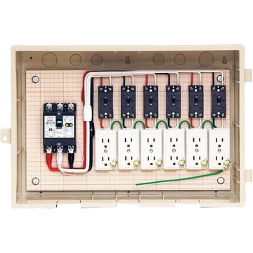 【法人限定】C15-6C4 (C156C4) 未来工業 屋外電力用仮設ボックス 漏電しゃ断器・分岐ブレーカ・コンセント内蔵