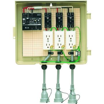 【法人限定】3-33CB (333CB) 未来工業 屋外電力用仮設ボックス 漏電しゃ断器・分岐ブレーカ・コンセント内蔵