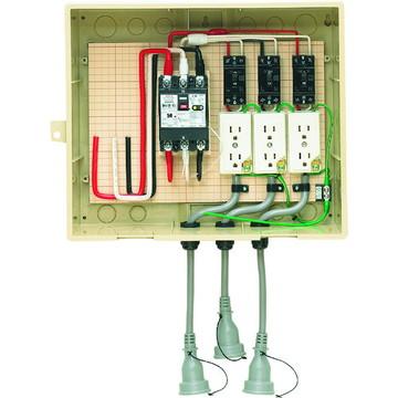【法人限定】14-33CB5L (1433CB5L) 未来工業 屋外電力用仮設ボックス 漏電しゃ断器・分岐ブレーカ・コンセント内蔵