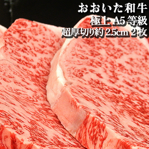 和牛日本一の大分県 超厚切り約2.5cmサーロインステーキ約300g おおいた和牛A5等級 2枚セット 豊後牛【送料無料】【新生活応援ギフトクーポン】