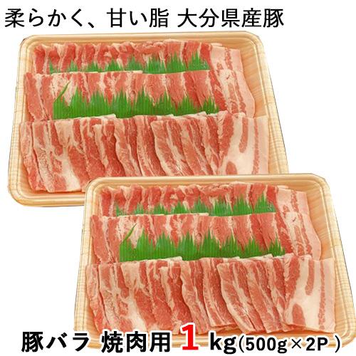 限定20%OFFクーポン 大分県産豚使用 注目ブランド 豚バラ SEAL限定商品 焼肉用 500g×2P 西日本畜産 送料無料