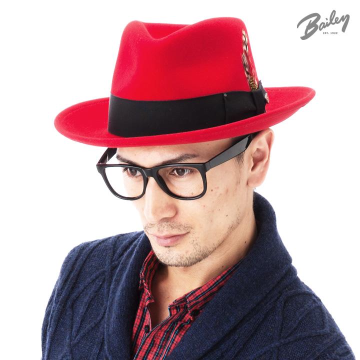 ベイリー(Bailey Hats)ハット フェドラ 中折れ フェルト レッド 帽子 HAT FEDORA RED メンズ