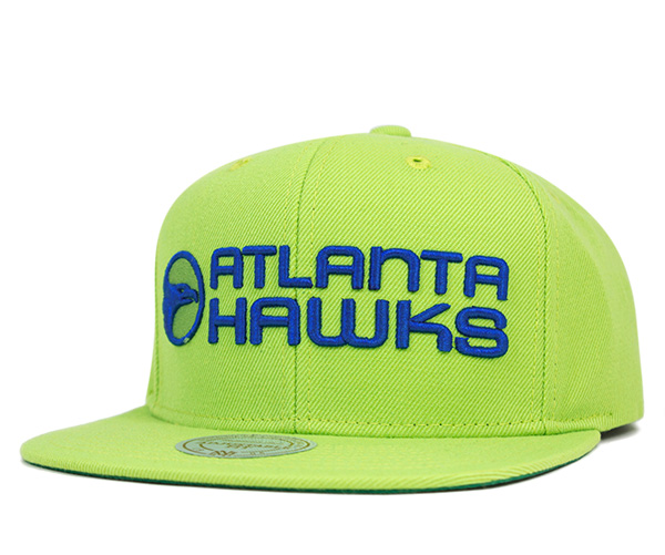 on sale 3f0c7 92425 Mitchell and Ness snap back Cap wool solid Atlanta Hawks lime green Hat  MITCHELL NESS SNAPBACK ...