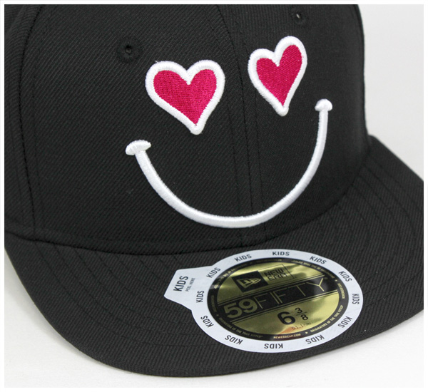 新埃拉小孩卡普斯英裏心黑色帽子New Era 59FIFTY KIDS SMILE HEART BLACK[新埃拉蓋子小孩New Era CAP New Era KIDS][BK]#KD