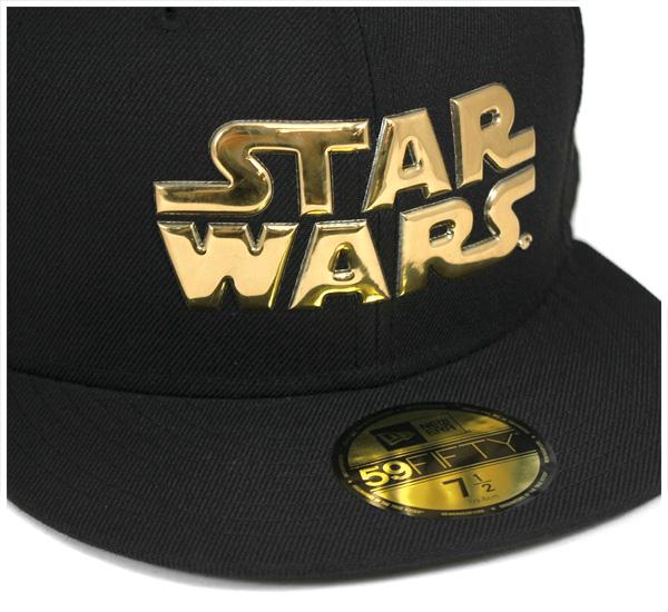 新时代 x 星球大战帽标志液体铬黑帽子纽埃尔 × 星级战争 59FIFTY 章徽标液体铬黑 #CP [新时代帽新时代帽帽子男],[BK]: B