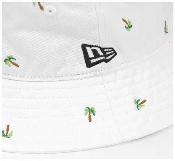 新埃拉吊桶帽子交织字母珀姆树白帽子NEW ERA BUCKET-01 HAT MONOGRAM PALM TREE WHITE新埃拉盖子帽子人