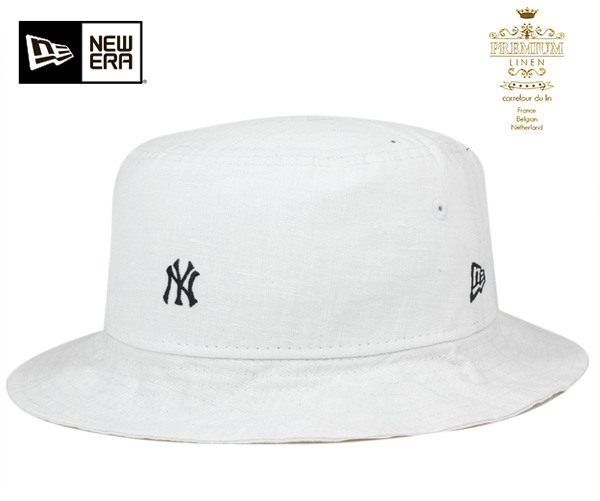 ac9413b85b4 One spots another note new era bucket Hat New York Yankees mini logo  premium linen white hat ONSPOTZ ORIGINAL NEWERA BUCKET-01 HAT NEW YORK  YANKEES YANKEES ...