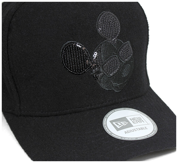 New era x Disney snap back Cap Mickey Mouse seeking d Melton Black Hat Newera×disnek 9fortk SNAPBACK CAP D-FRAME MICKEY MOUSE SEQUINED MELTON BLACK mens Cap 10P01Oct16