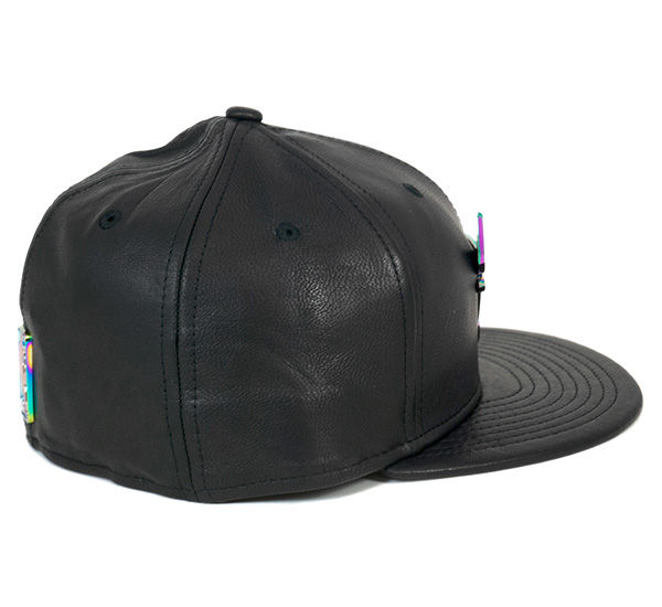新时代帽芝加哥公牛豪华皮革黑帽子 NWRA 59FIFTY 帽 NBA 芝加哥公牛队豪华皮革黑