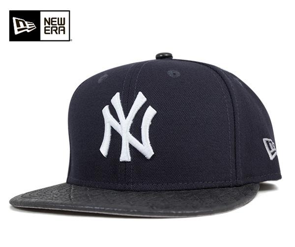 9d3efb7f2a8 onspotz  New era Snapback caps New York Yankees leather check Navy ...