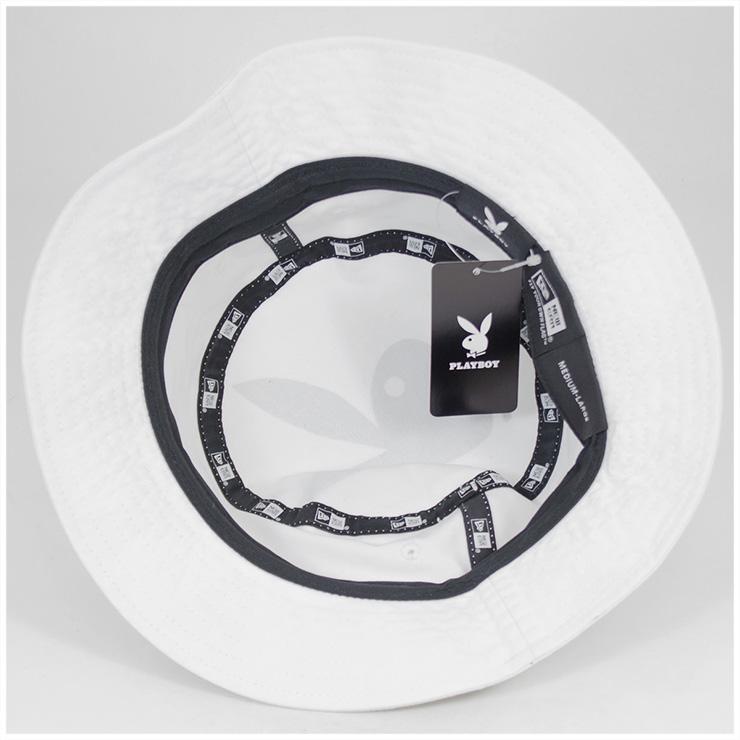 新埃拉×花花公子吊桶帽子大的標識白帽子NEW ERA×PLAYBOY BUCKET-01 HAT BIG LOGO WHITE