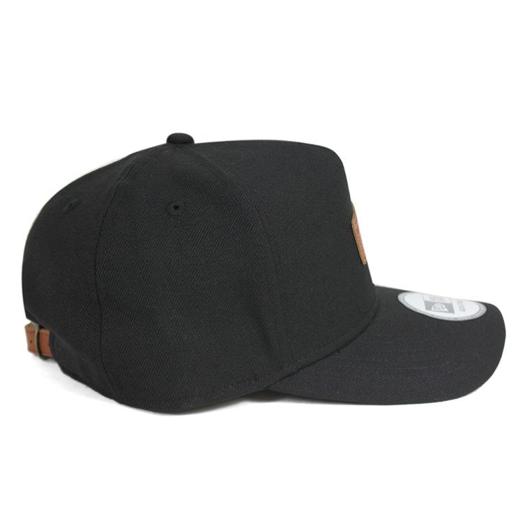 新時代帶回帽皮革修補程式黑帽子紐埃爾 STRAPBACK 章 9FORTY D 幀皮革修補程式黑色男裝帽 10P01Oct16