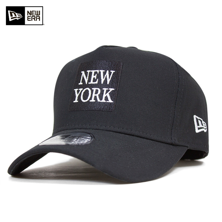 新埃拉突然彈回蓋子鴨帆布紐約黑色帽子NEW ERA 9FORTY SNAPBACK CAP D-FRAME DUCK CANVAS NEW YORK BLACK