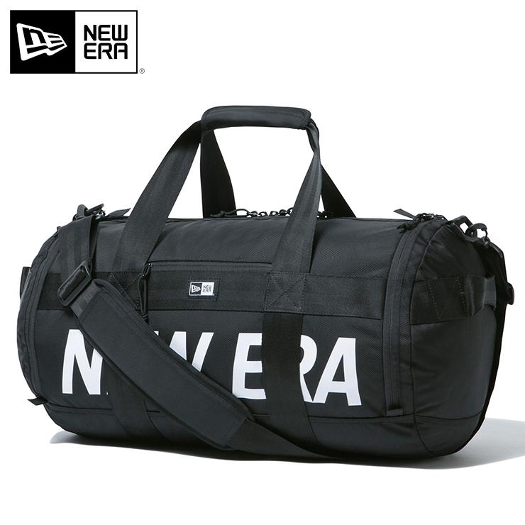 ニューエラ ドラムダッフルバッグ 40L PRINT LOGO ブラック NEW ERA new era ブランド おしゃれ ストリート newera ニューエラバッグ