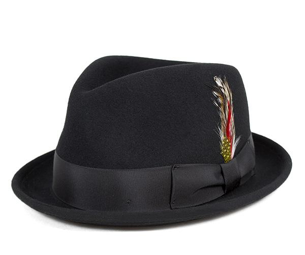 ニューヨークハット(NEW YORK HAT)フェドラハット ティア ドロップ スティンジー ブラック 帽子 FEDORA HAT TEAR DROP STINGY BLACK