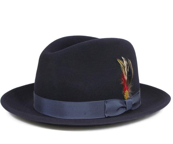ニューヨークハット(NEW YORK HAT)フェドラハット ネイビー 帽子 FEDORA HAT NAVY
