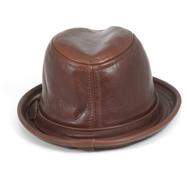 New York Hat Caps hats vintage leather Fedora Brandie hats NEW YORK HAT VINTAGE LEATHER FEDORA BRANDY [Hat large size mens ladies] [BN] #HA: O