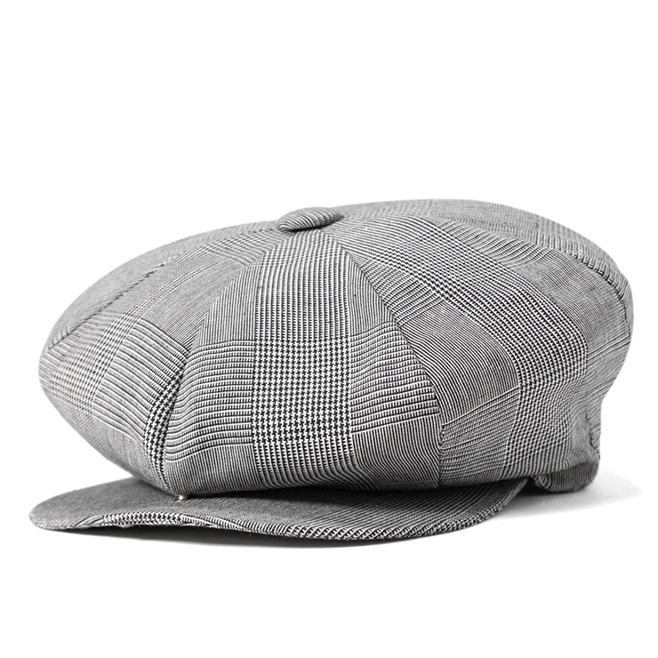 New York Hat newsboy Plaid linen Big Apple Grey Hat NEWYORK HAT CASQUETTE PLAID LINEN BIG APPLE GREY #CQ [big newsboy Hat Cap size mens ladies], [GY]