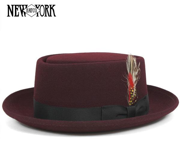 ニューヨークハット(NEW YORK HAT)ポークパイ バーガンディー 帽子 PORK PIE BURGUNDY フェルト ハット メンズ