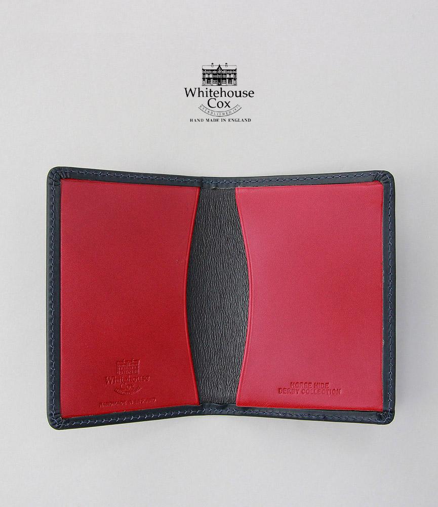 馬革を使用した柔らかな肌触りのダービーコレクション マチ付きを含む2種類のポケット ビジネスシーンにぴったりな2つ折りのシンプルな名刺入れです ケア用品 ギフトあり ホワイトハウスコックス ダービーコレクション 名刺入れ ネイビー RED NAME NAVY レッド 百貨店 WhitehouseCox S7412 DERBY CARD 人気 CASE