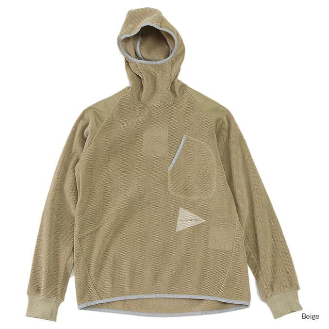 アンドワンダー フリースメッシュフーディ and wander freece mesh hoodie 2color