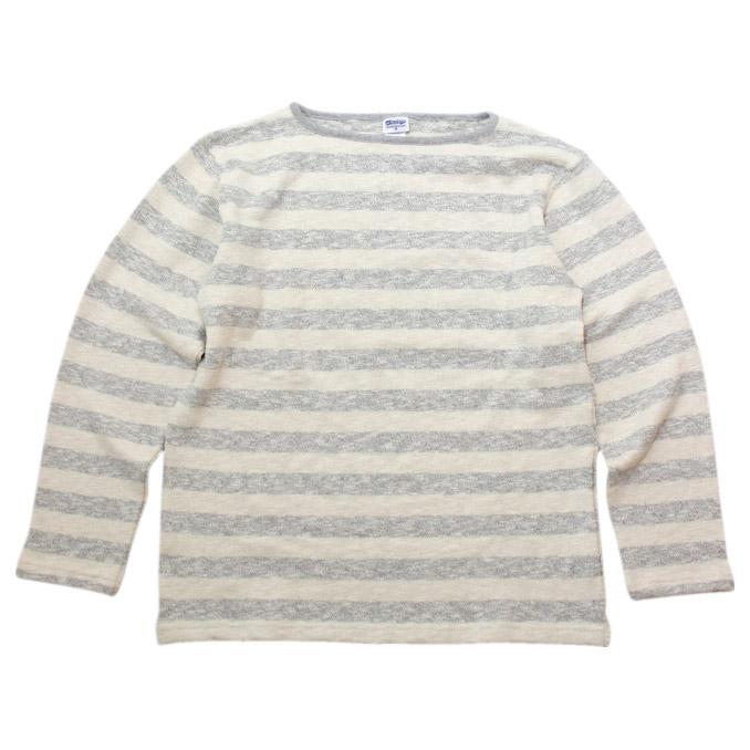ティージー カットソー バスク シャツ Tieasy Authentic オーセンティック te002bd ORIGINAL BORDER BOATNECK SHIRT オリジナルボーダーバスクシャツ Natural × Mix Grey